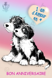 Carte anniversaire chiot Bearded Collie 1 an +.