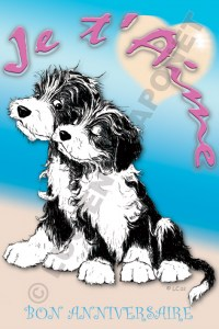 Carte anniversaire chiots Bearded Collie qui s'aiment beardement